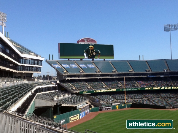 A first-look rendering of the new right-field scoreboard at O.co Coliseum.